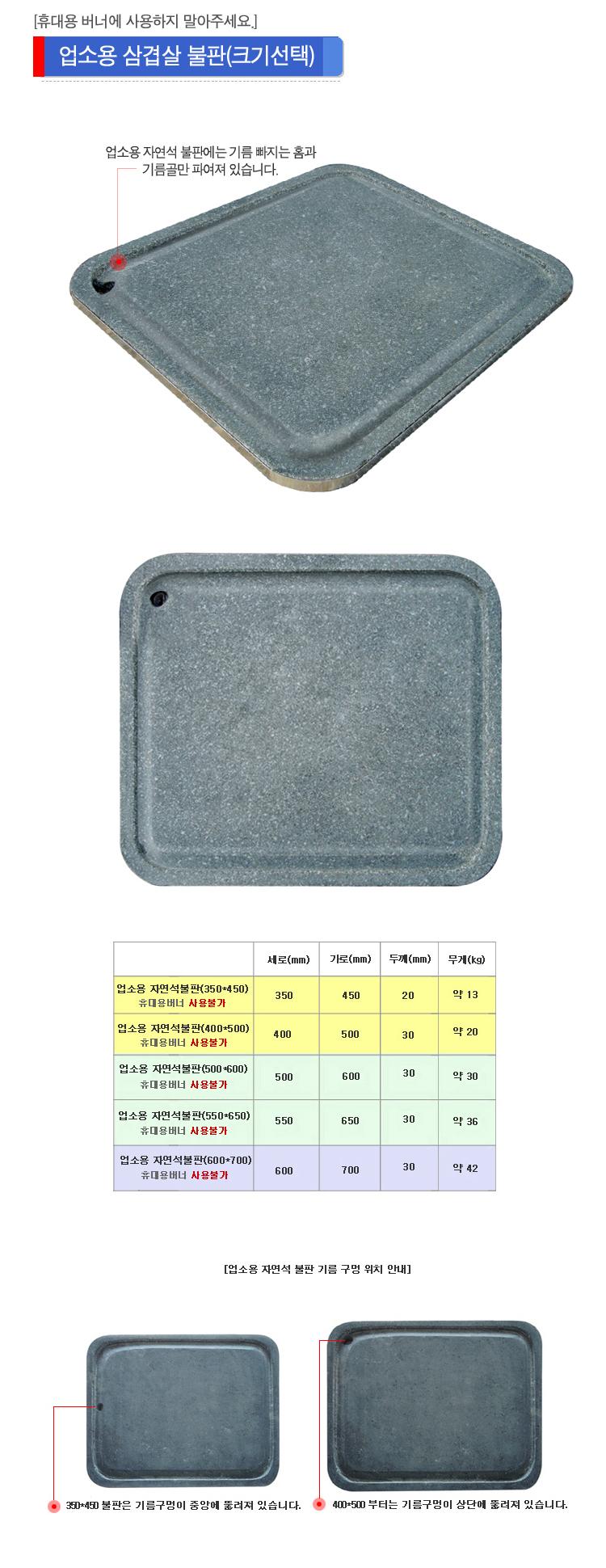 업소용 삼겹살불판(350-450) 업소용 불판에는 기름빠지는 홈과 기름골이 파여져 있습니다. 과대불판이 되므로 휴대용 버너에는 사용하지 말아주세요 350-450 불판은 기름구멍이 가운데 뚫려져 있고 400-500 사이즈 부터는 기름구멍이 상단에 뚫려져 있습니다.